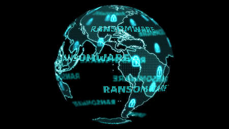 Digital global world map and technology research develpoment analysis to ransomware attack digital light text