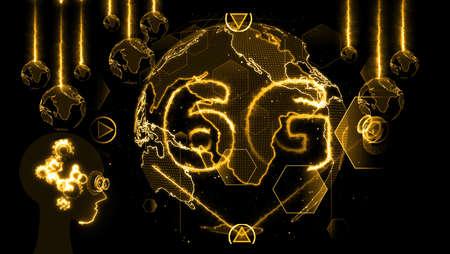 6G network hyper speed Internet digital world map in monitor digital meter cycle radar 3D electronic meter inside sent data by quantum satellite send signal futiristic mechanism head