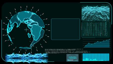 Blue monitor digital global world map and technology research develpoment analysis program