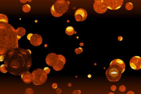 virus covid ball was mutation to evil face dark orange on black screen