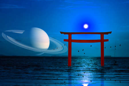 reflection full moon over torii on night sky and silhouette birds flying on the sea