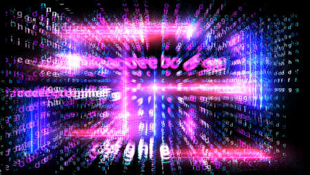 Matrix alphabet dimension vertical and horizental with magenta blue and purple laser abstract light effect falling on black isolated element ball background