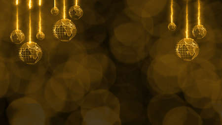 Christmas theme has digital world rotate blur luxury gold tone blink light background