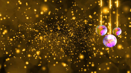 Balls lights and deep gold snow and ice dust falling very slow and faded in the winter season and blink luxury golden tone background 版權商用圖片