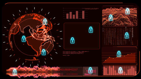 Digital global red world map and technology research develpoment analysis to protect ransomware