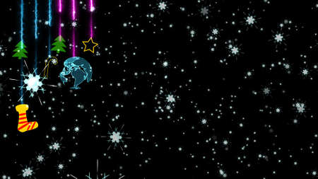 Christmas colorful theme has digital world rotate wth sock stars trees sweet stick hang on ceiling and dancing funny party snowflake background