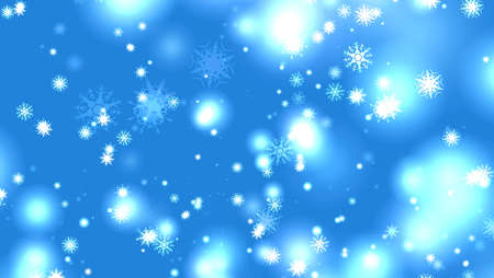 snowflake eight and six star six branch short thorn wing falling with ice dust snow element for Christmas festival blue background