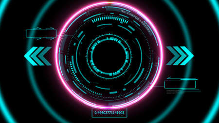 futuristic technology digital radar detected holographic element pink laser glow effect arrow and two callout border with numeric blue tone