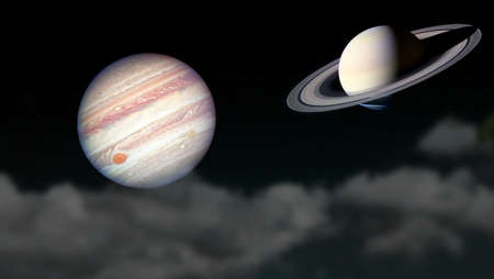 Saturn and Jupiter rise on silhouette cloud on the night sky