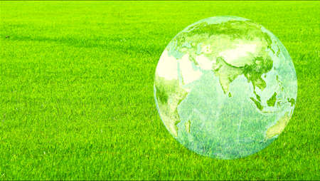 earth map with middle and south east asia map on the green field, save environment, ecology afforestation, climate change concept Imagens