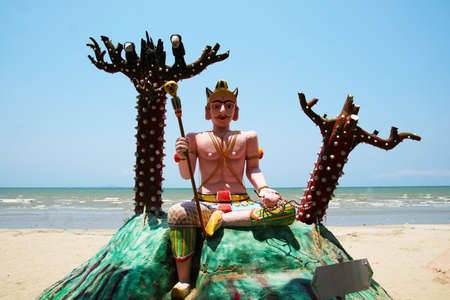 Grim Reaper sand pagoda in Songkran festival represents In order to take the sand scraps attached to the feet from the temple to return the temple in the shape of a sand pagoda
