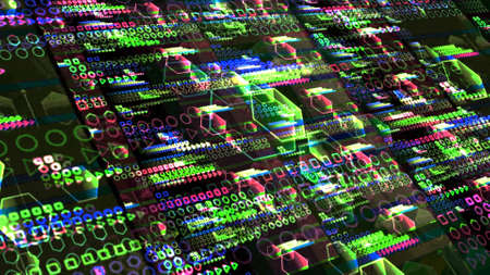 Quantum computer futuristic technology digital layer dimension holographic process and analysis for big data and abstract orange zone polygon background