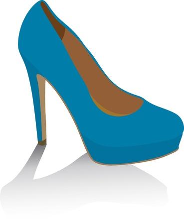 zapatos azules: Zapatos azules en blanco Ilustraci�n vectorial