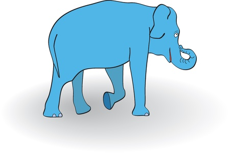foreleg: Blue elephant on white background  Vector illustration Illustration
