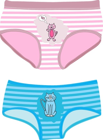 Childrens Underpants with cats. Vector illustration