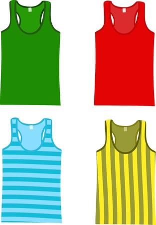 sleeveless: Set of Sleeveless Tank Tops. Vector illustration