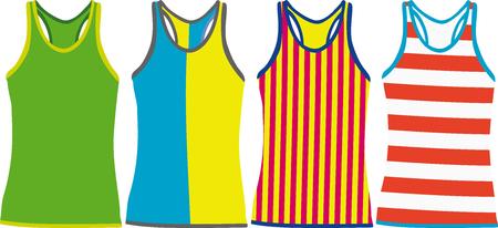 sleeveless: Set of Sleeveless Tank Tops  Vector illustration Illustration
