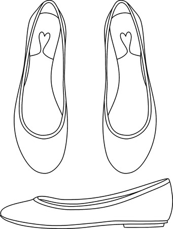 flat shoes: Outlined Flat Shoes