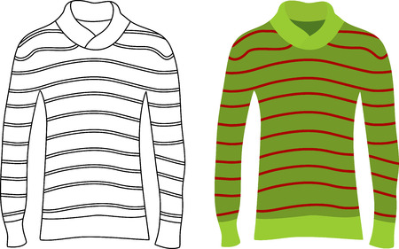 sleeved: Two long sleeve striped sweaters. Illustration
