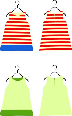 striated: Two childrens dresses. Vector illustration Illustration