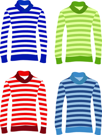 sleeve: Set of long sleeve striped sweaters Illustration