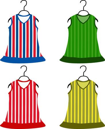 clothing rack: Set of children dresses. Vector illustration.