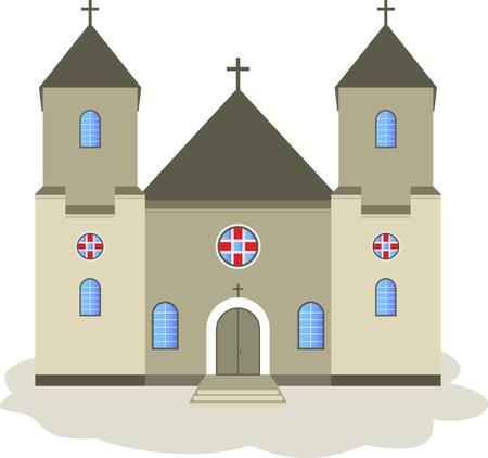 edifice: Cartoon vector illustration of a church. Illustration