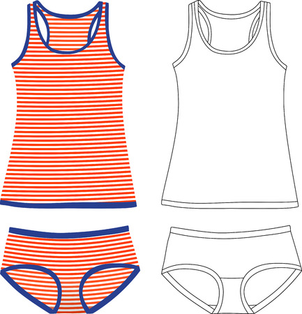 camisole: Striped and outlined tank tops and panties Illustration