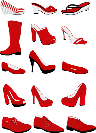 heel strap: Set of female and male shoes.