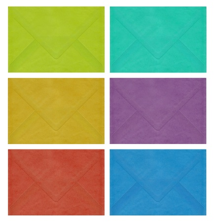 Image of six envelopes in different colors