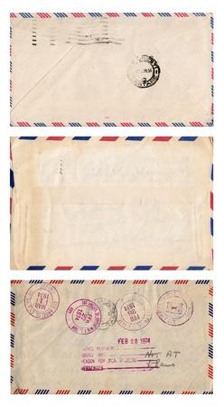 Set of three old envelopes isolated on white  Stock Photo