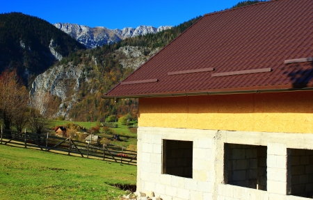 moutains: Villa being constructed in moutains