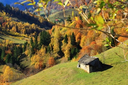 Old barn in Romanian Carpathians