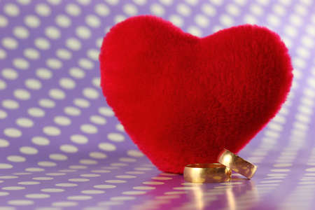 Wedding rings next to plush heart photo
