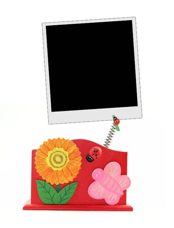Summer themed photo frame isolated on white