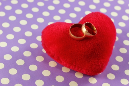 Wedding rings on the top of a plush heart photo
