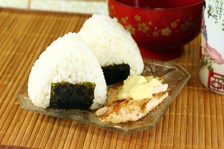 Japanese chicken and mayonnaise rice balls ( onigiri ) Stock Photo