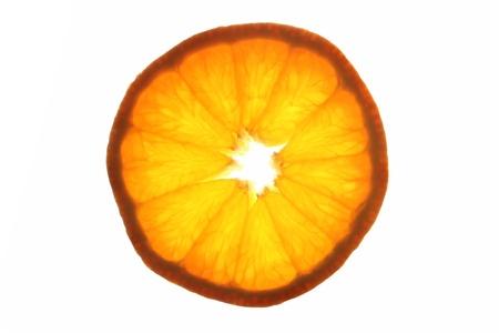 Orange slice lightened from behind