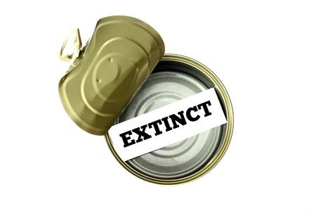 extinct: Extinction concept  extinct written inside empty can