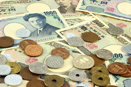 Japanese yen bills and coins Stock Photo