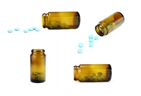 Pill bottle isolated on white in four different positions.