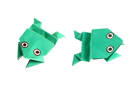 Origami frog in two different positions, isolated on white