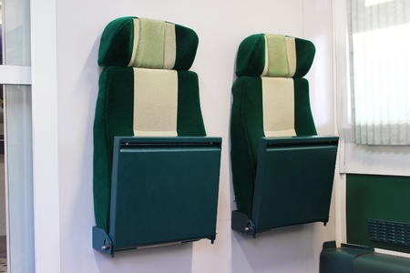 Modern train with retractable seats Stock Photo
