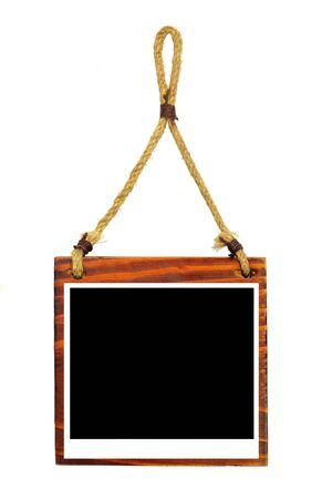 Hanging wooden photo frame