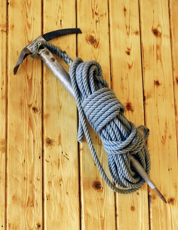 Vintage ice axe and rope put on display