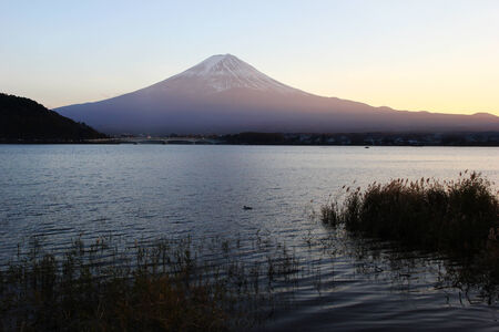 Lake Kawaguchi and Mount Fuji sunset Stock Photo