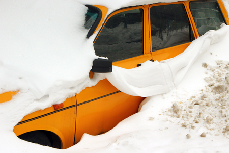 Car trapped under snow after heavy snow storm