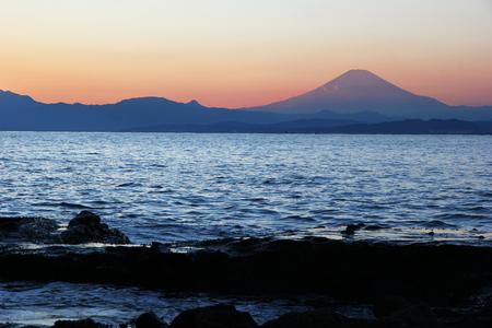 Mount Fuji view from Enoshima island.