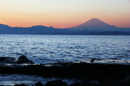 Mount Fuji view from Enoshima island.