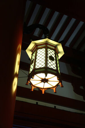 Japanese lantern at shinto temple Stock Photo